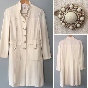 St. John Collection Duster Jacket Winter White 6